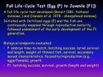 full life cycle test egg p to juvenile f1