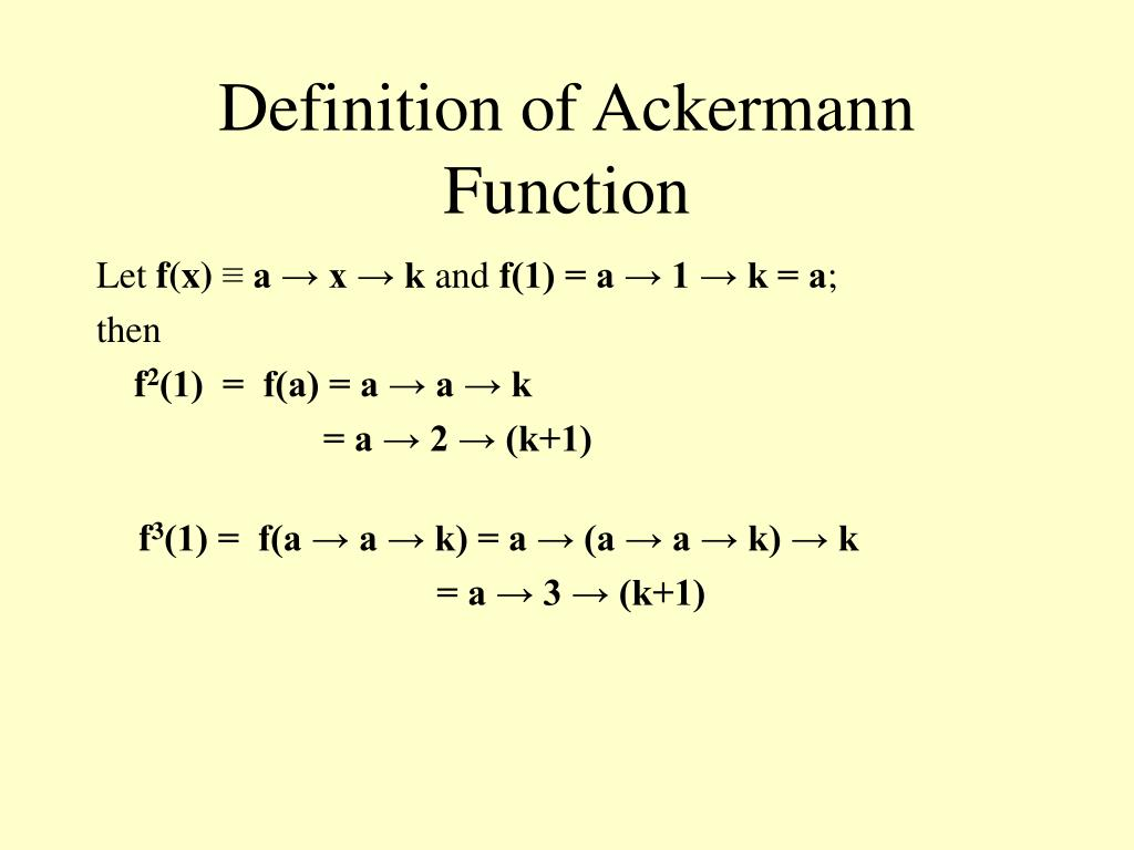 Definition of Ackermann Function