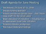 draft agenda for june meeting