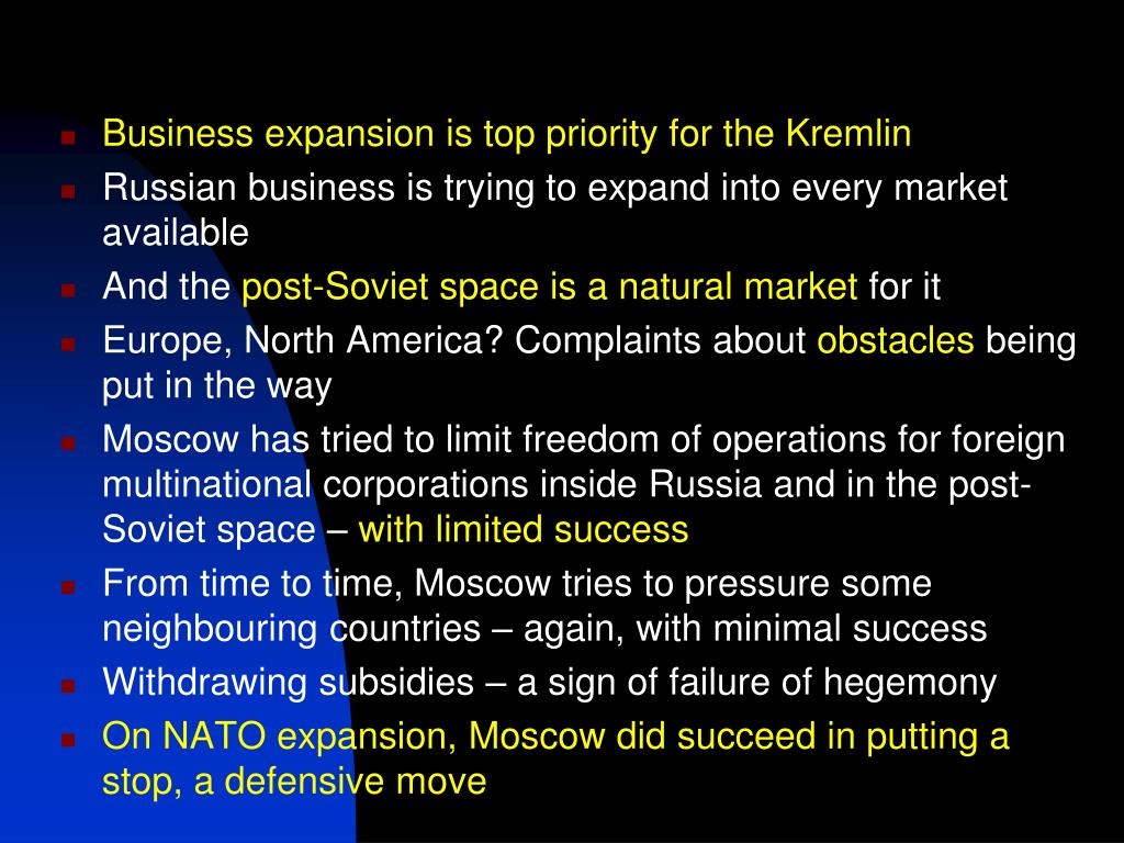 Business expansion is top priority for the Kremlin