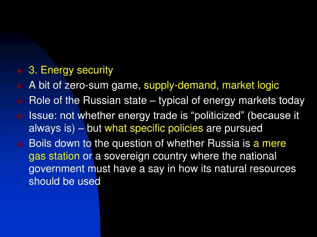 3. Energy security