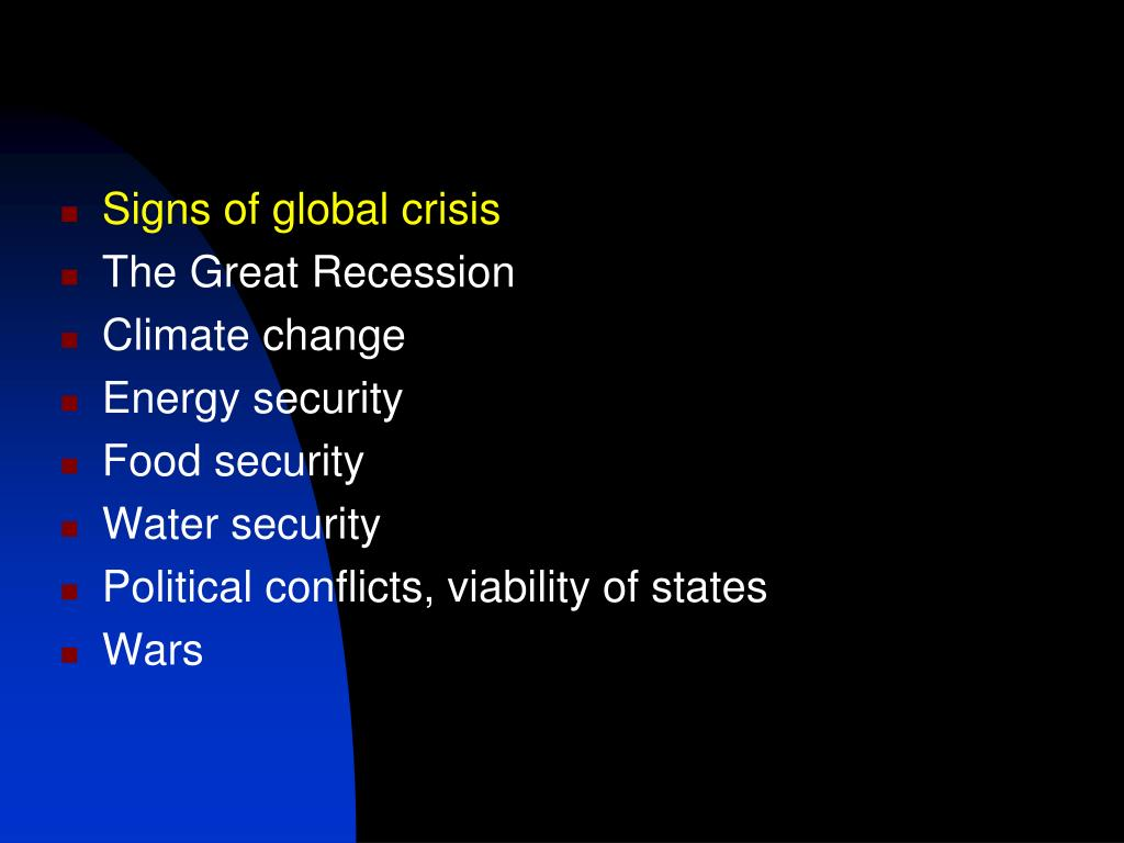 Signs of global crisis