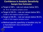 confidence in analytic sensitivity sample size estimates18