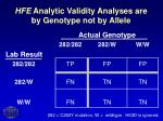 hfe analytic validity analyses are by genotype not by allele