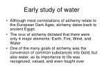 early study of water