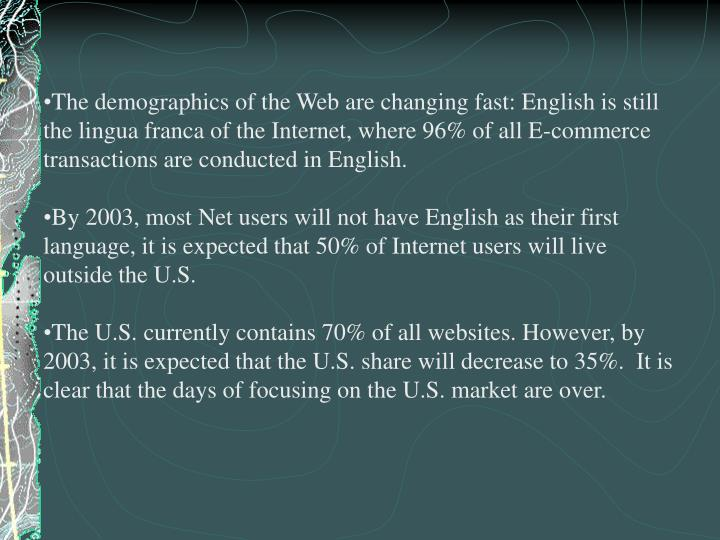 The demographics of the Web are changing fast: English is still the lingua franca of the Internet, w...