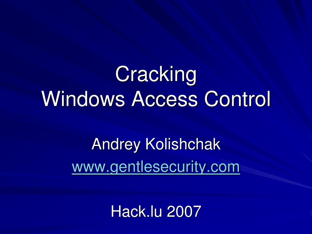 cracking windows access control l.