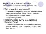 support for synthetic phonics national institute of child health human development 2000
