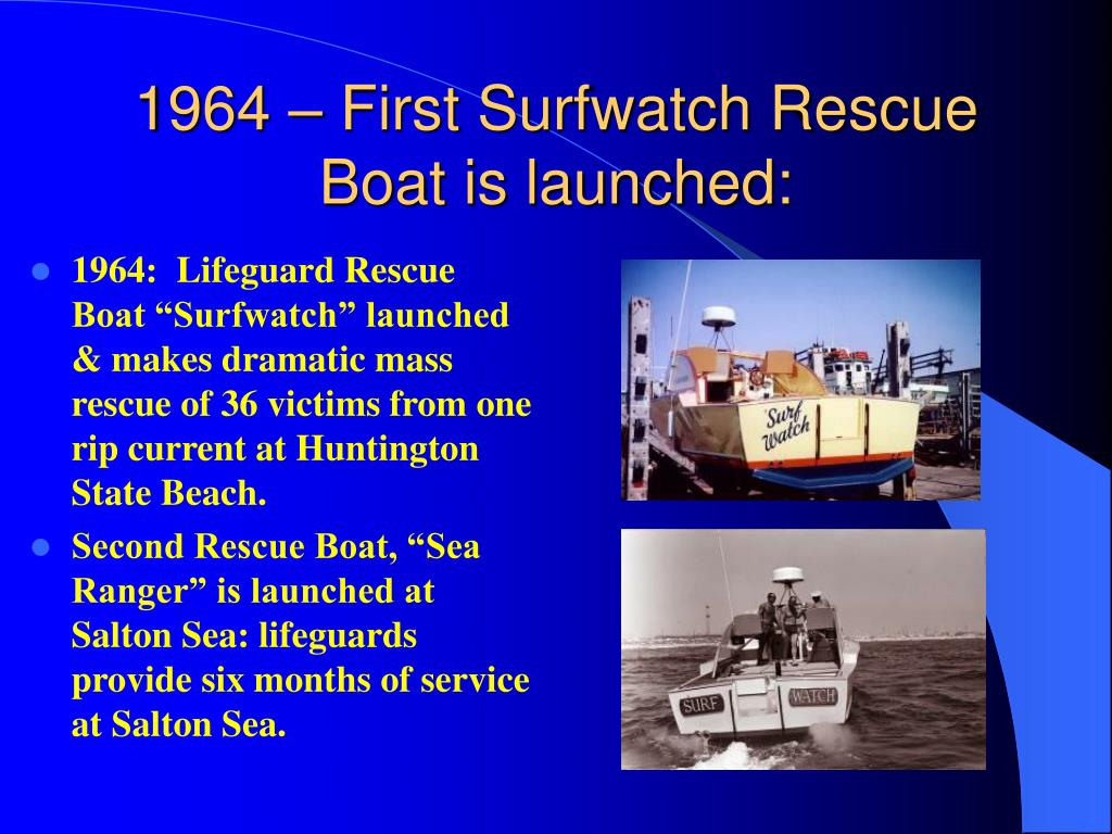 1964 – First Surfwatch Rescue Boat is launched: