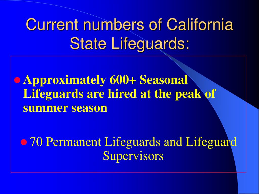 Current numbers of California State Lifeguards: