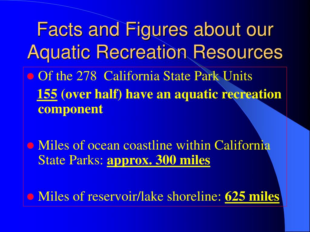 Facts and Figures about our Aquatic Recreation Resources