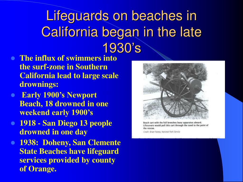 Lifeguards on beaches in California began in the late 1930's