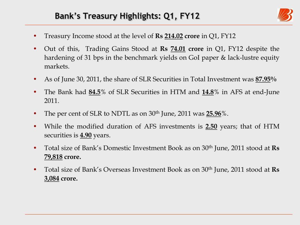Bank's Treasury Highlights: Q1, FY12
