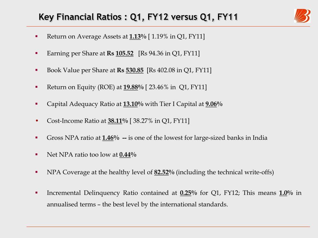 Key Financial Ratios : Q1, FY12 versus Q1, FY11