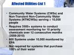 affected utilities list 1