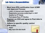 lab roles responsibilities