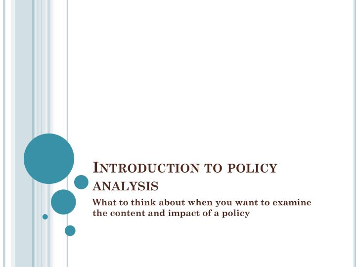 Introduction to policy analysis