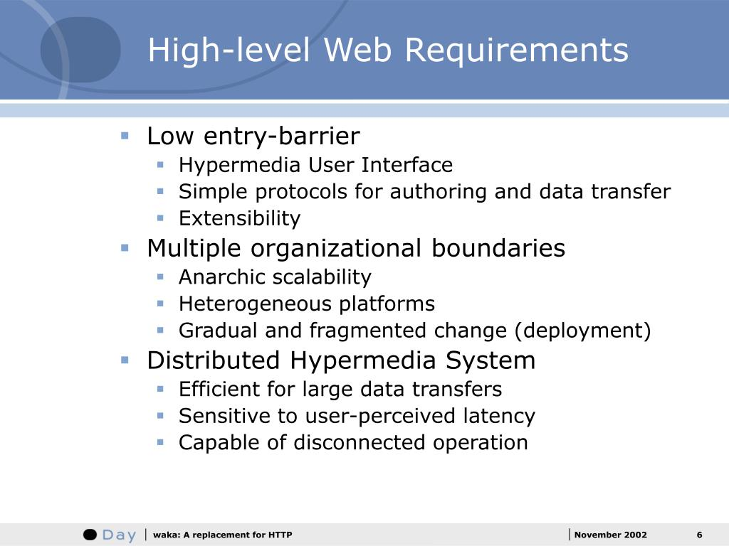 High-level Web Requirements
