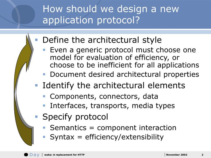 How should we design a new application protocol