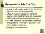 management s role cont d