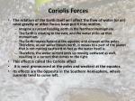 coriolis forces