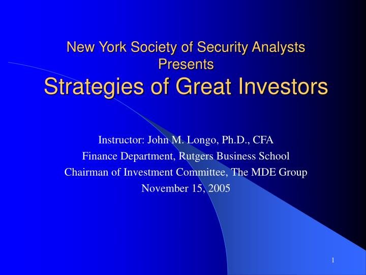 new york society of security analysts presents strategies of great investors n.