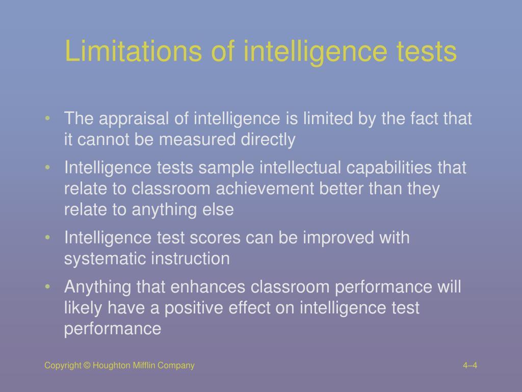 Limitations of intelligence tests