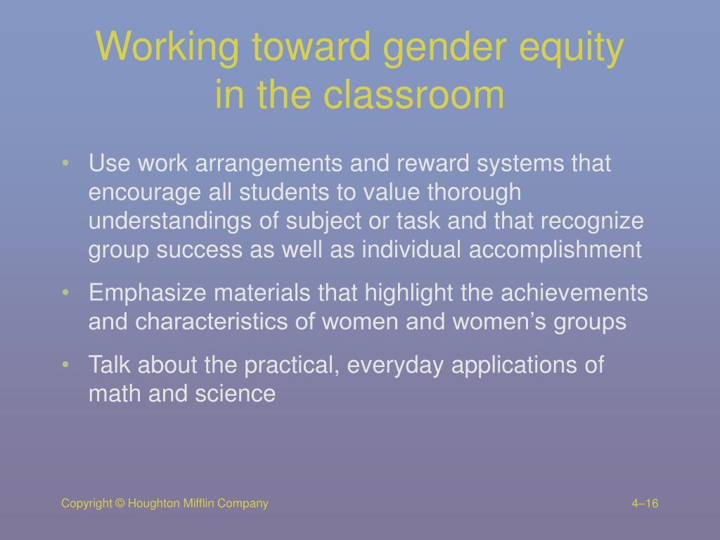 Working toward gender equity