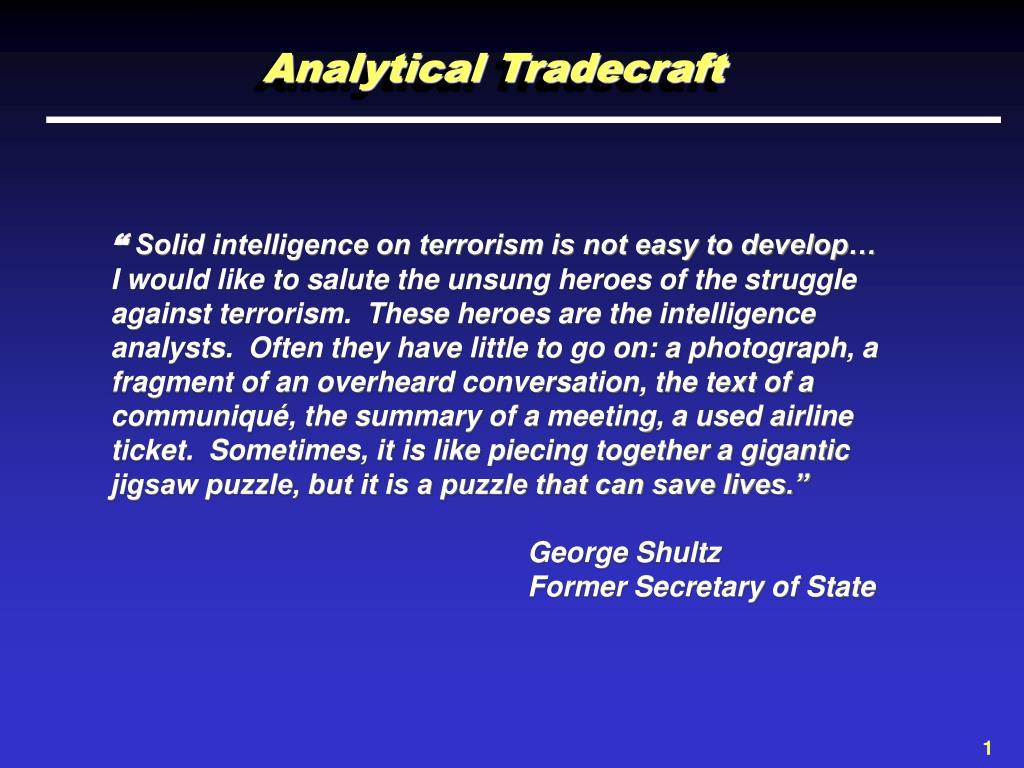 Analytical Tradecraft