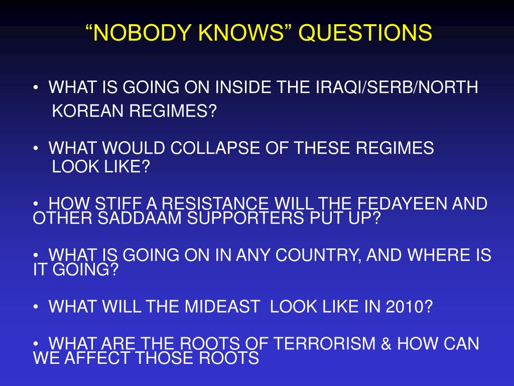 """""""NOBODY KNOWS"""" QUESTIONS"""
