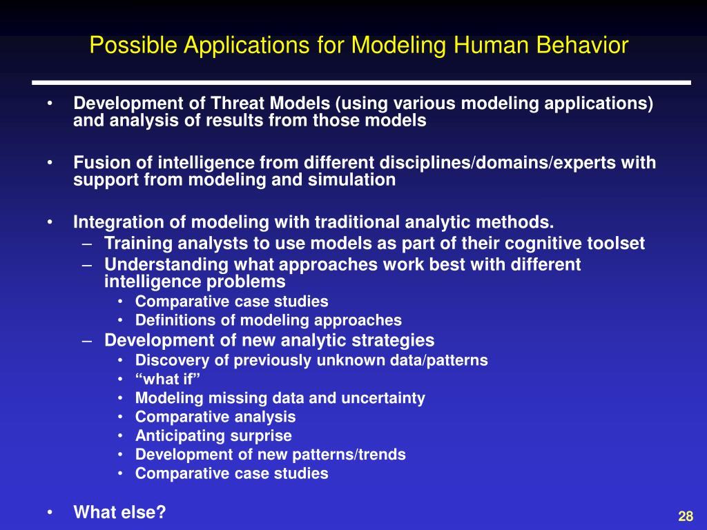 Possible Applications for Modeling Human Behavior