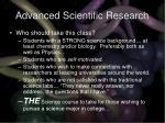 advanced scientific research32