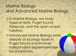marine biology and advanced marine biology