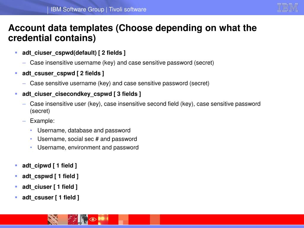 Account data templates (Choose depending on what the credential contains)