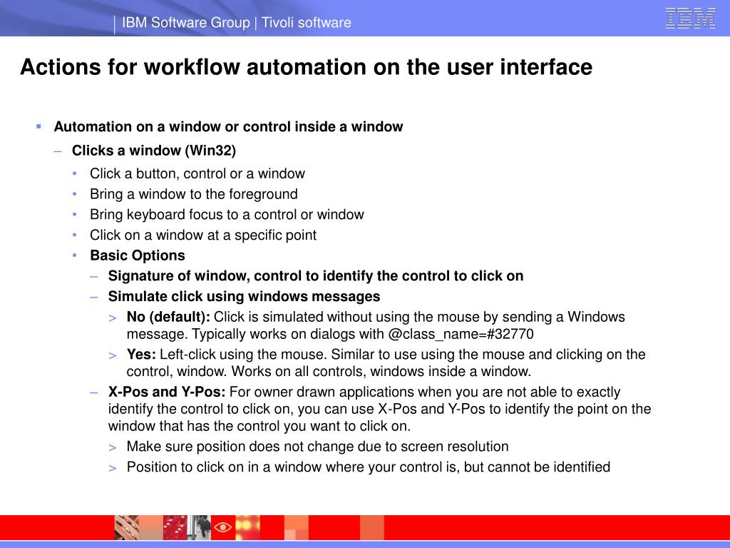 Actions for workflow automation on the user interface