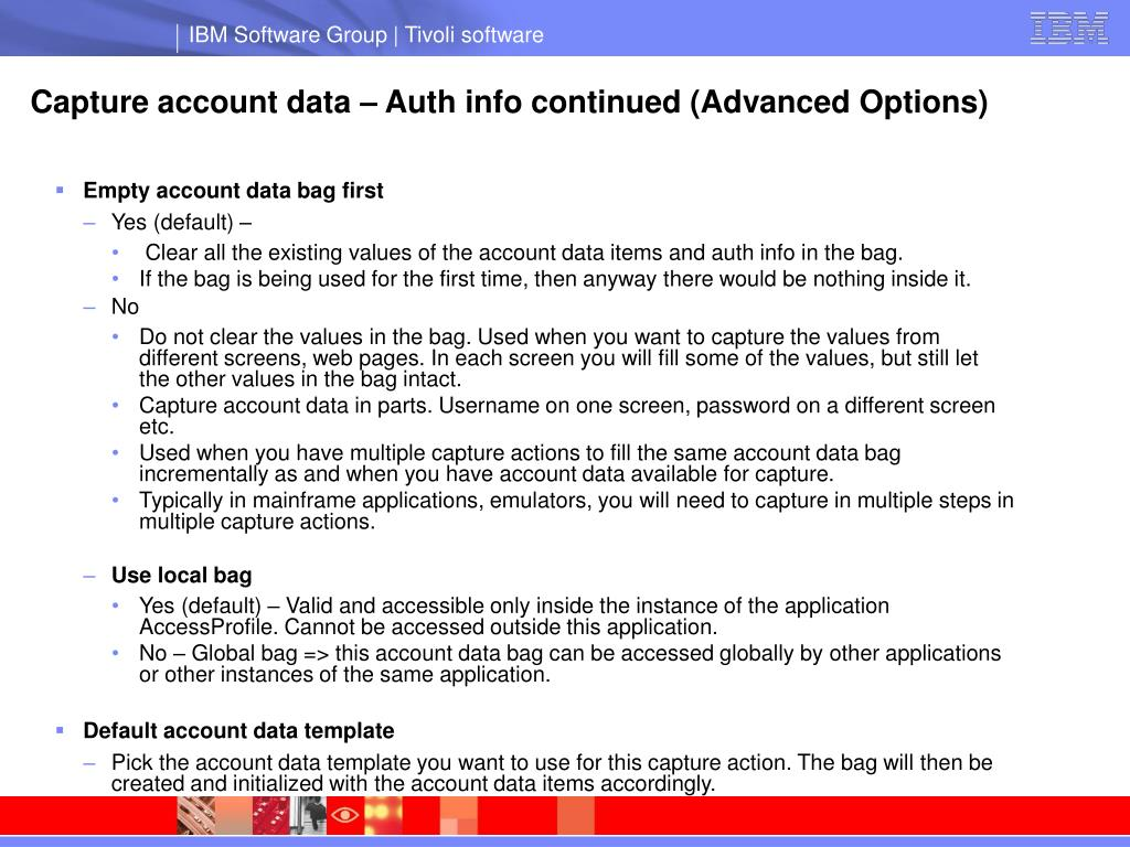 Capture account data – Auth info continued (Advanced Options)