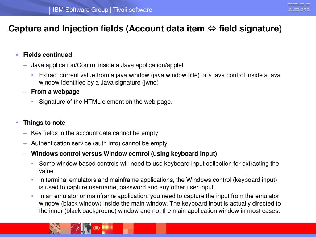 Capture and Injection fields (Account data item