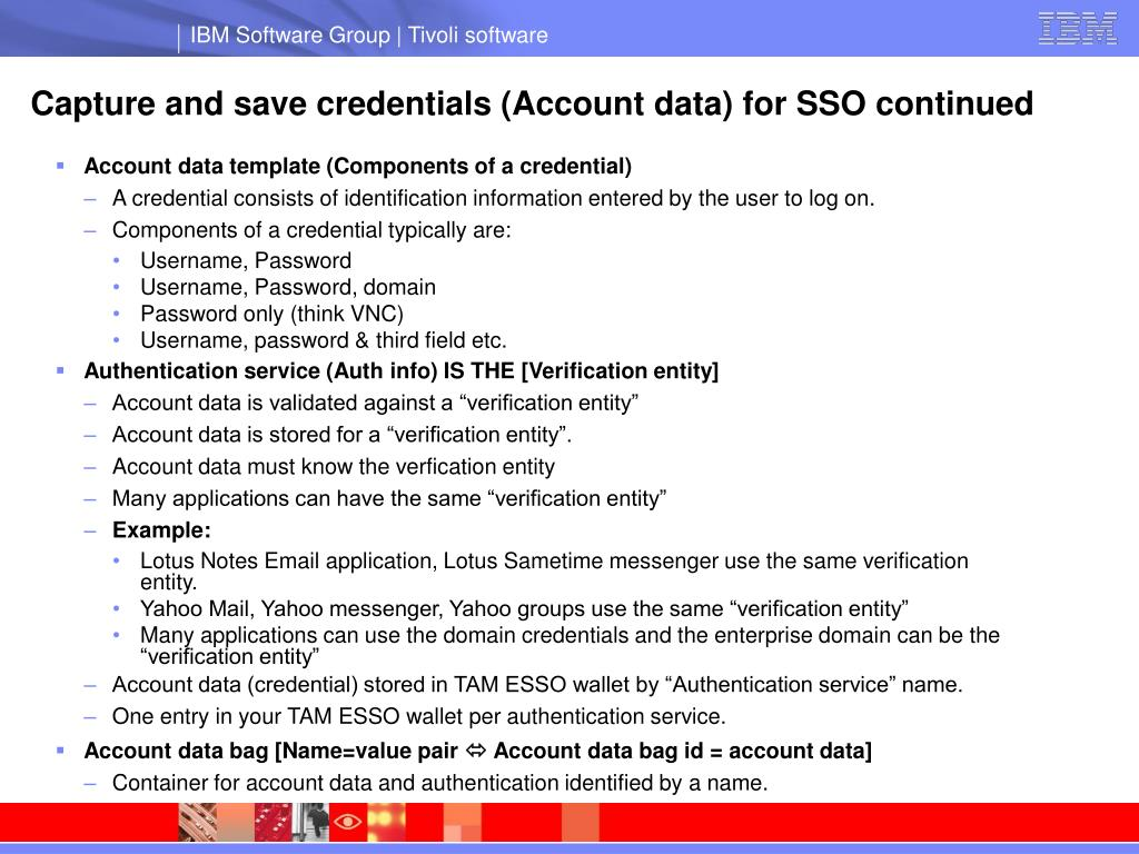 Capture and save credentials (Account data) for SSO continued
