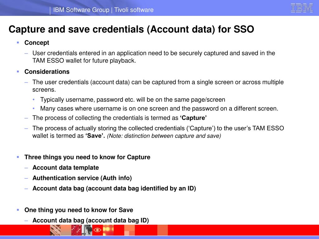 Capture and save credentials (Account data) for SSO