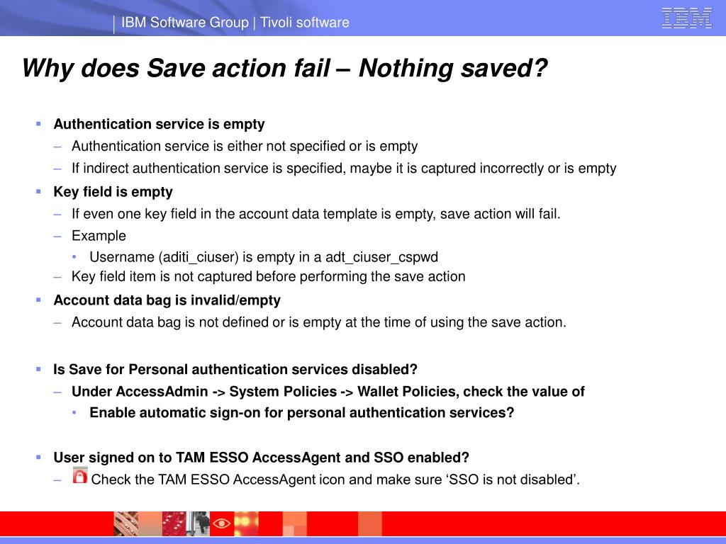 Why does Save action fail – Nothing saved?