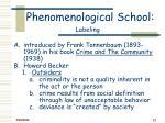 phenomenological school labeling