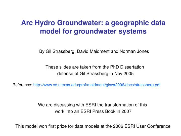 arc hydro groundwater a geographic data model for groundwater systems n.