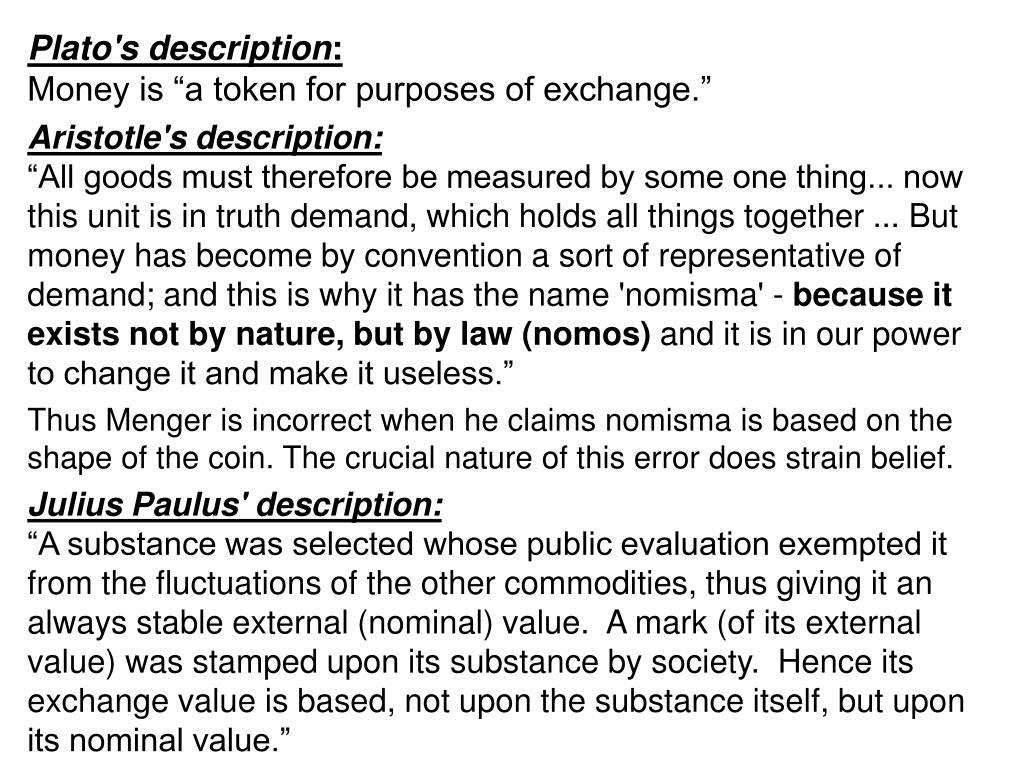 Plato's description