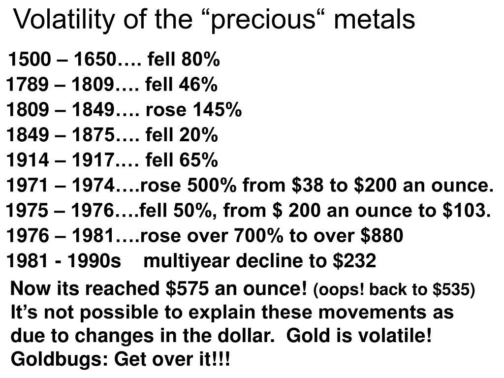 """Volatility of the """"precious"""" metals"""