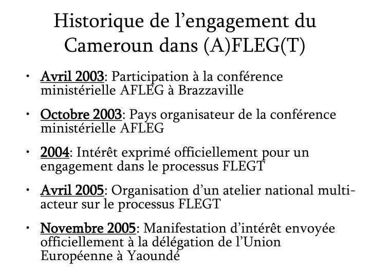 Historique de l engagement du cameroun dans a fleg t