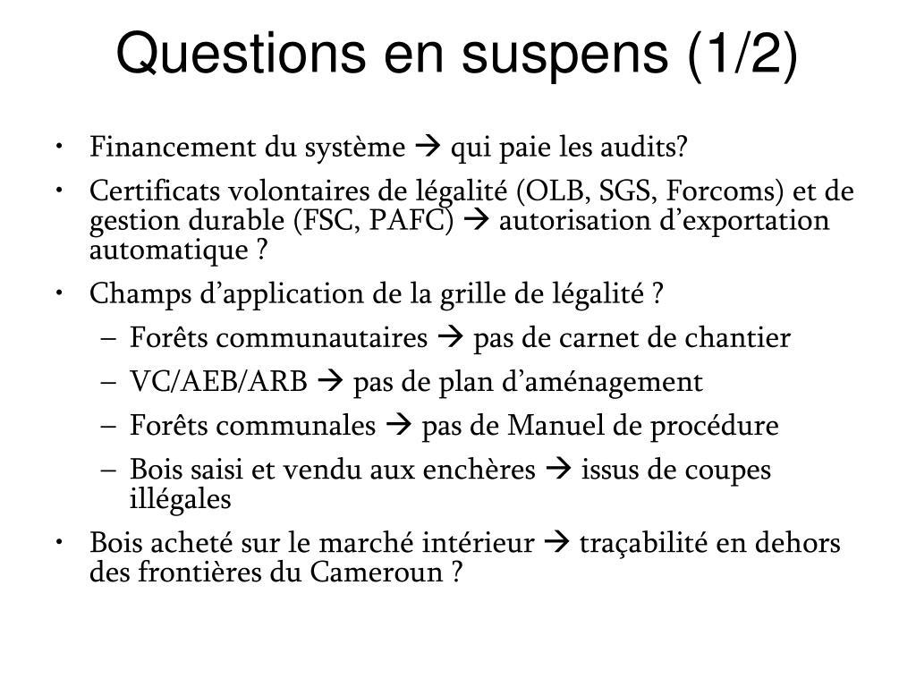 Questions en suspens (1/2)
