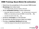 hmm training baum welch re estimation