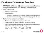 paradigms performance functions