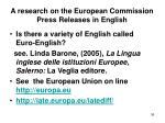 a research on the european commission press releases in english