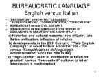 bureaucratic language english versus italian